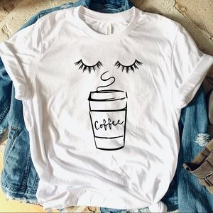 Tops - Coffee & lashes graphic tee white t-shirt top New